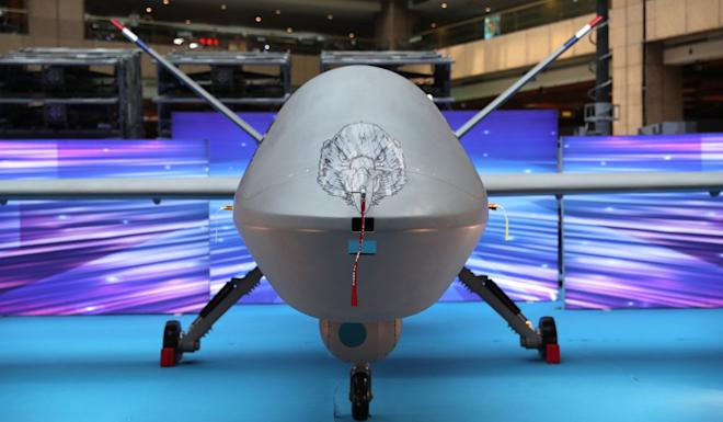 Taiwan unveiled the latest version of the Teng Yun surveillance drone at the Taipei Aerospace and Defence Technology Exhibition. Photo: EPA-EFE