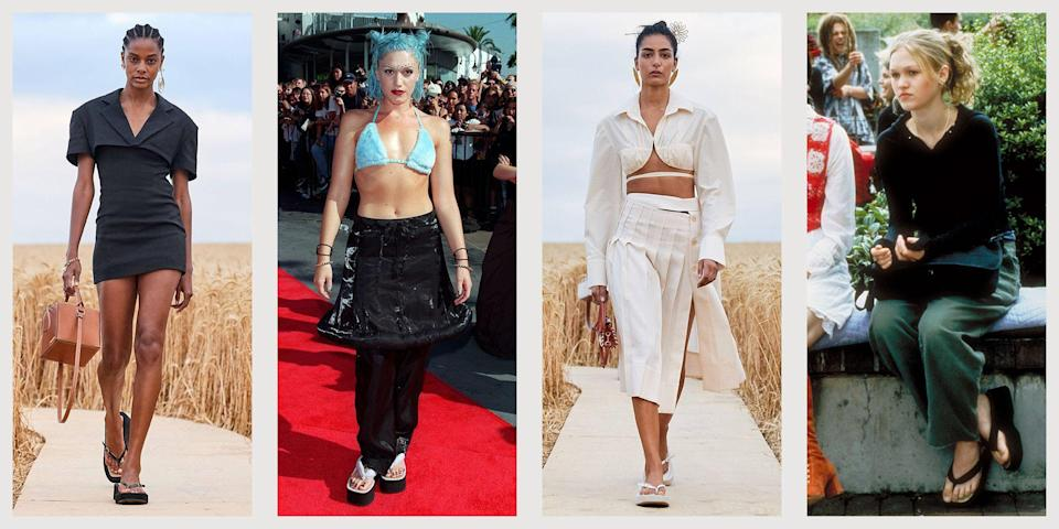 """<p class=""""body-dropcap"""">As the summer collections released, and designers revealed their bets on the new<a href=""""https://www.townandcountrymag.com/style/fashion-trends/a34778125/fashion-trends-2021/"""" rel=""""nofollow noopener"""" target=""""_blank"""" data-ylk=""""slk:trends for spring/summer 2021"""" class=""""link rapid-noclick-resp""""> trends for spring/summer 2021</a>, there was a familiar silhouette in the mix: the platform flip-flop. We had collectively exiled the style after it reached peak popularity in the early 2000s. Remember? The shoe was often paired with low-rise jeans, a tank-top and rimless sunglasses. Think: Paris Hilton, Gwen Stefani, and maybe even Prince.</p><p>But long before our modern American memory, the platform sandal has enjoyed a more elegant pedigree in Japan. Similar to a flip-flop, the platform <em>geta </em>sandal was traditionally worn by high-ranking courtesans and is still a popular choice.<br> <br>This return of the platform sandal feels closer to its Japanese cousin, especially when paired with a chic high-waisted, wide-leg pants and a <a href=""""https://www.townandcountrymag.com/style/fashion-trends/g35715328/best-knit-bras/"""" rel=""""nofollow noopener"""" target=""""_blank"""" data-ylk=""""slk:summer-friendly knit bra"""" class=""""link rapid-noclick-resp"""">summer-friendly knit bra</a> (another 'aughts throwback that has received a modern makeover). So if you love them and can't wait to try out these new versions, or if you need some persuading, see our favorite platform flip-flop styles below.<br></p>"""