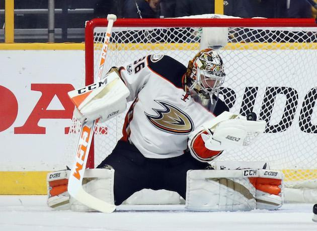 """NASHVILLE, TN – MAY 18: <a class=""""link rapid-noclick-resp"""" href=""""/nhl/players/5407/"""" data-ylk=""""slk:John Gibson"""">John Gibson</a> #36 of the <a class=""""link rapid-noclick-resp"""" href=""""/nhl/teams/ana/"""" data-ylk=""""slk:Anaheim Ducks"""">Anaheim Ducks</a> tends net against the <a class=""""link rapid-noclick-resp"""" href=""""/nhl/teams/nas/"""" data-ylk=""""slk:Nashville Predators"""">Nashville Predators</a> in Game Four of the Western Conference Final during the 2017 NHL Stanley Cup Playoffs at the Bridgestone Arena on May 18, 2017 in Nashville, Tennessee. The Ducks defeated the Predators 3-2 in overtime. (Photo by Bruce Bennett/Getty Images)"""