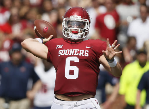 Can Baker Mayfield (6) and Oklahoma get revenge on Ohio State in Columbus after last year's drubbing? (AP)