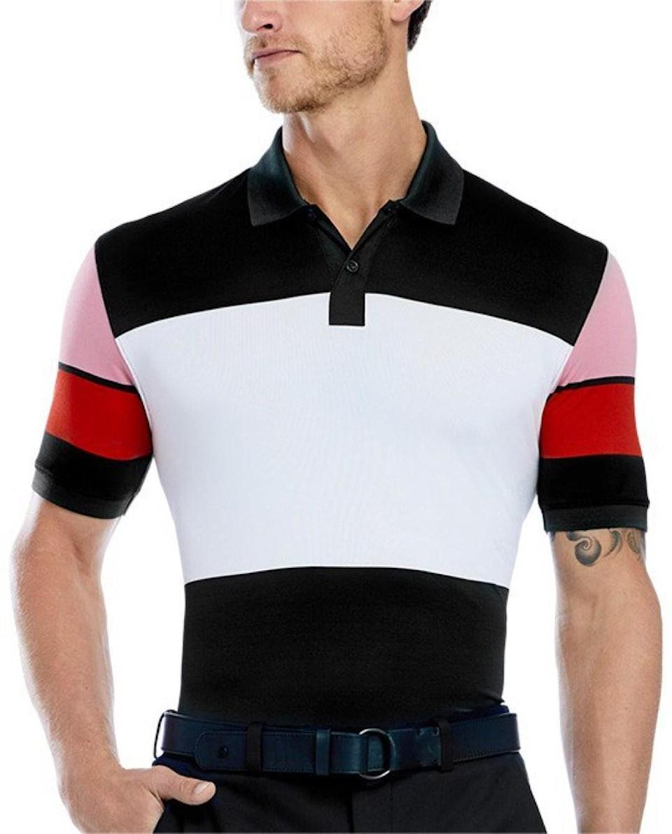 """$125; buy now at <a href=""""https://www.gfore.com/men-shop/mens-apparel/mens-polos-tees/wide-stripe-polo-16460.html"""" rel=""""nofollow noopener"""" target=""""_blank"""" data-ylk=""""slk:gfore.com"""" class=""""link rapid-noclick-resp"""">gfore.com</a> <p>True to form, the G/FORE Wide Stripe Polo brings a unique option to your golf arsenal. This color-block polo is ripe with colors, and is just bold enough to spice up your favorite black trousers.</p>"""