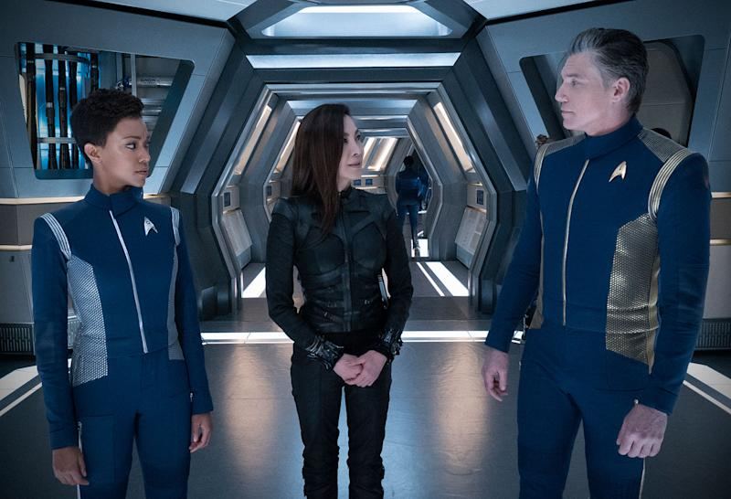 L-R: Michael Burnham (Sonequa Martin-Green), Michelle Yeoh (Philippa Georgiou), and Christopher Pike (Ansel Mount). (Netflix)