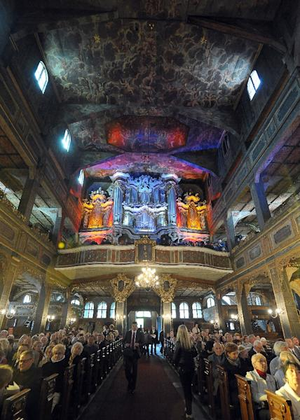 Pictured in a photo taken on May 6, 2011, is the interior of the Lutheran Church of Peace in Swidnica, a UNESCO world heritage site built in the mid-17th century with funding from the Swedish monarchy (AFP Photo/Janek Skarzynski)