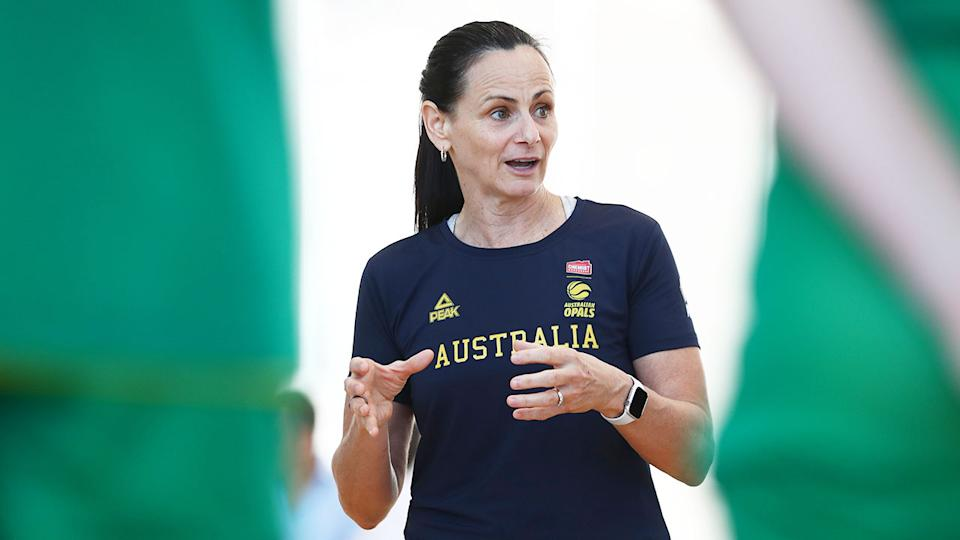 Pictured here, Australian Opals basketball coach Sandy Brondello talks to her players.