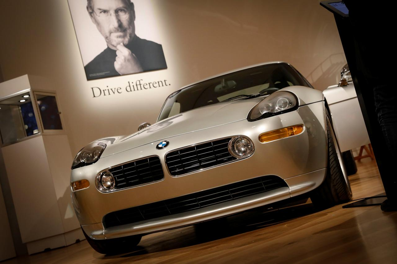 A 2000 BMW Z8 owned by Apple Founder Steve Jobs is displayed during a media preview for the 'RM Sotheby's Icons' sale at Sotheby's in New York, U.S., November 30, 2017. REUTERS/Brendan McDermid