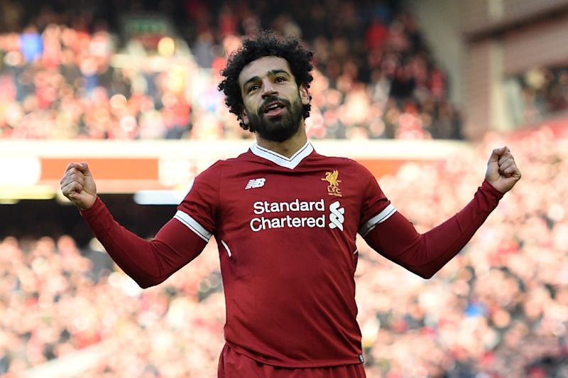 Liverpool's Egyptian midfielder Mohamed Salah celebrates scoring