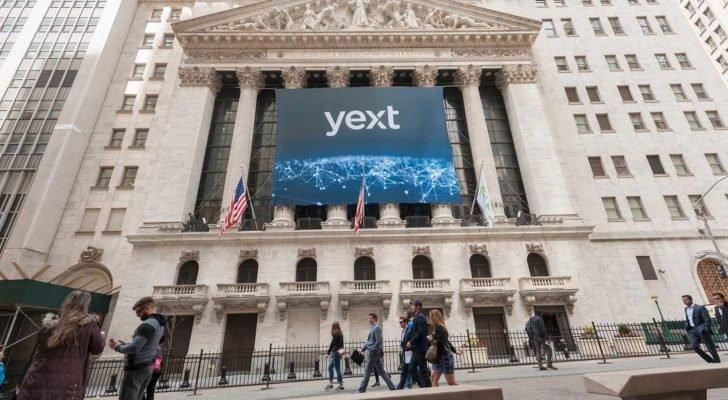 A Yext (YEXT) banner hangs on the New York Stock Exchange.