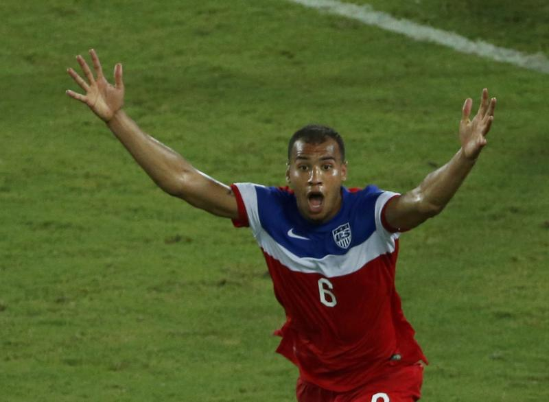 John Brooks of the U.S. celebrates after scoring a goal against Ghana during their 2014 World Cup Group G soccer match at the Dunas arena in Natal June 16, 2014. REUTERS/Carlos Barria (BRAZIL - Tags: SOCCER SPORT WORLD CUP) TOPCUP