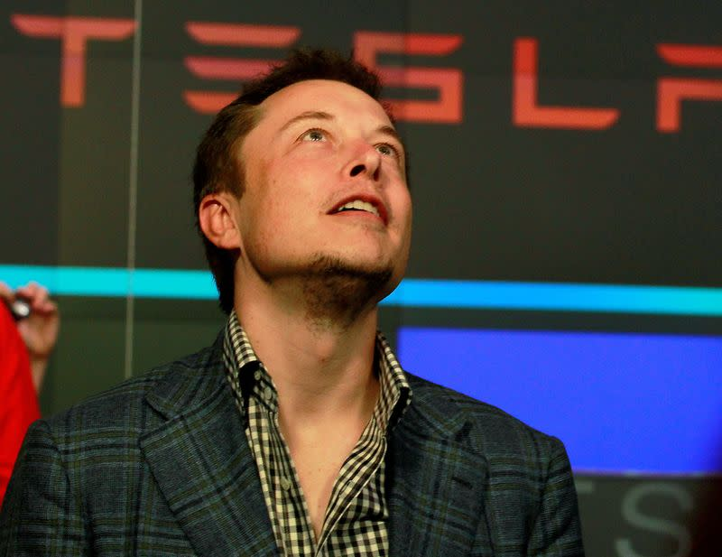 FILE PHOTO: CEO of Tesla Motors Elon Musk reacts following the company's initial public offering at the NASDAQ market in New York