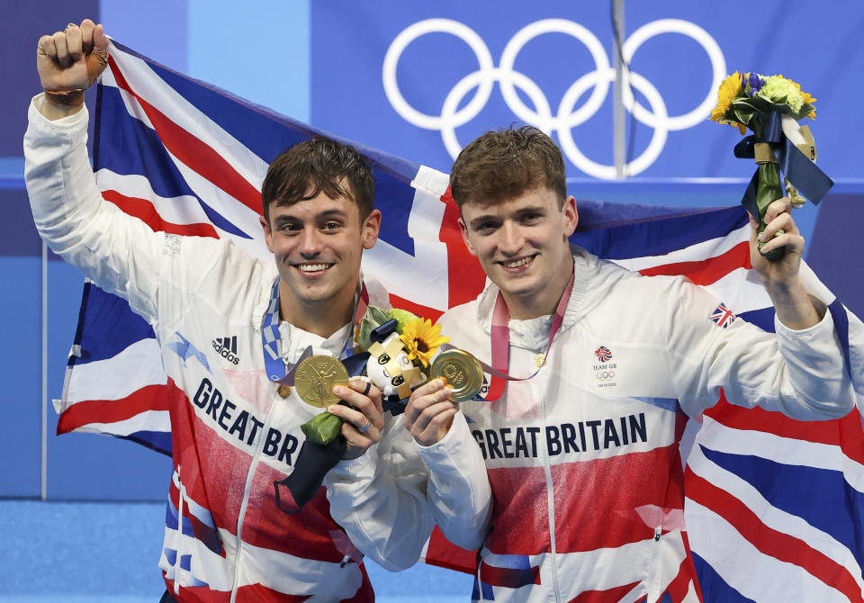 Gold Medalist Tom Daley of Team Great Britain, left, pictured with dive partner Matty Lee, said after his recent win in Tokyo,