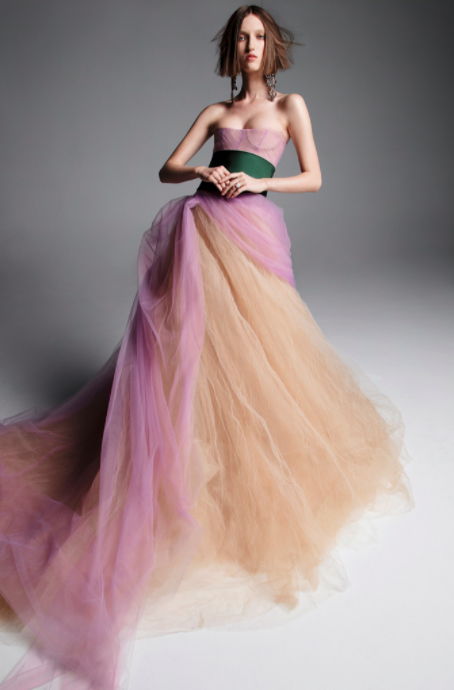 <p>Lilac and forest green bursts into a tulle skirt. <i>(Image: Inez & Vinoodh/Courtesy Vera Wang)</i> </p>