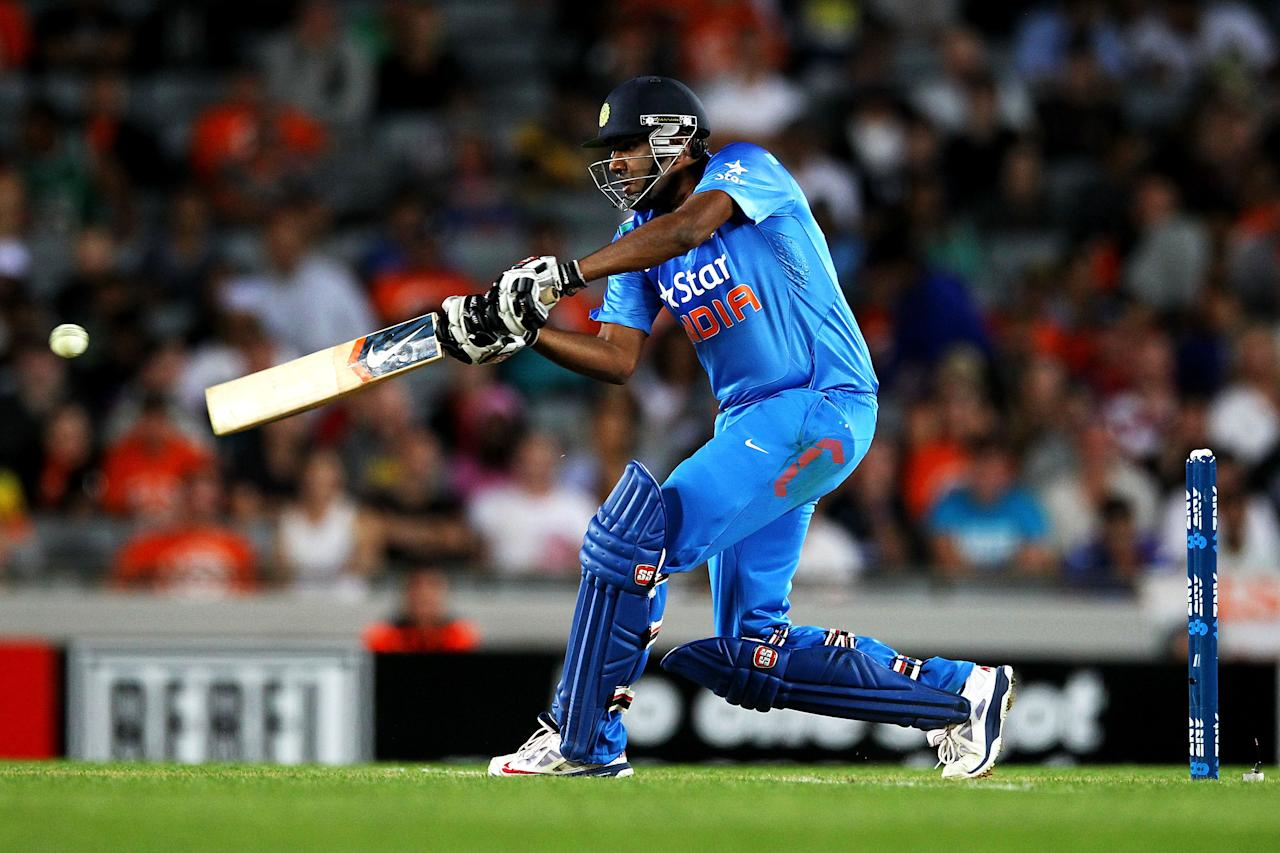 AUCKLAND, NEW ZEALAND - JANUARY 25: Ravichandran Ashwin of India bats during the One Day International match between New Zealand and India at Eden Park on January 25, 2014 in Auckland, New Zealand.  (Photo by Anthony Au-Yeung/Getty Images)