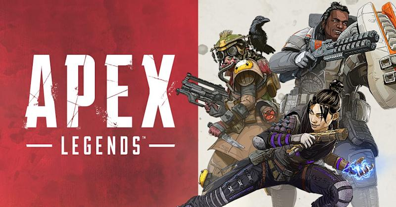 A poster from EA's Apex Legends, displaying three characters wearing armor and holding futuristic weapons.