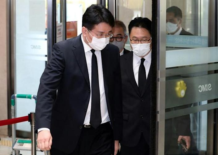 Korean Air chairman Cho Won-tae (front) arrived at a funeral hall to attend a mourning ritual for the late Samsung Electronics chairman Lee Kun-Hee in Seoul on Monday