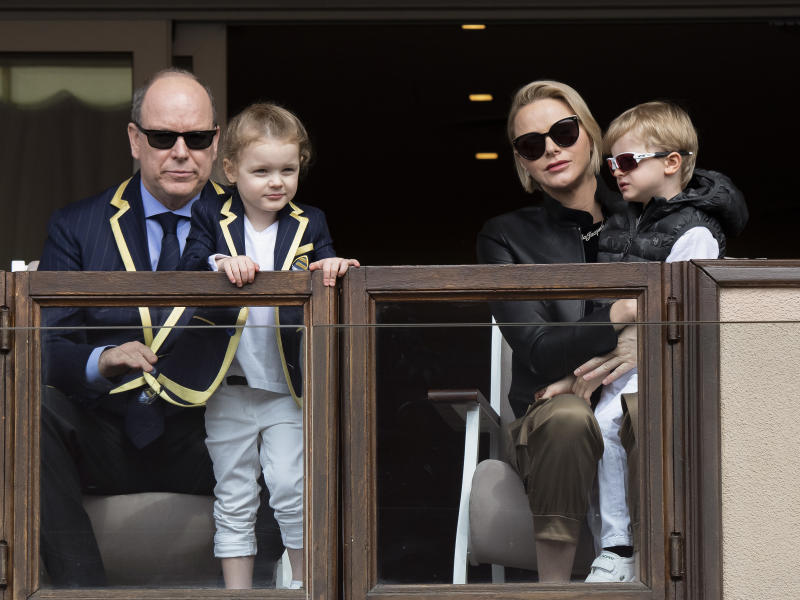 MONACO, MONACO - MAY 11: (EDITOR'S NOTE : NO TABLOIDS WEB & PRINT) Prince Albert II of Monaco, Princess Gabriella, Prince Jacques of Monaco and Princess Charlene of Monaco attends the Sainte Devote Rugby Tournament at Louis II Stadium on May 11, 2019 in Monaco, Monaco. (Photo by AJ/Pool/Getty Images)