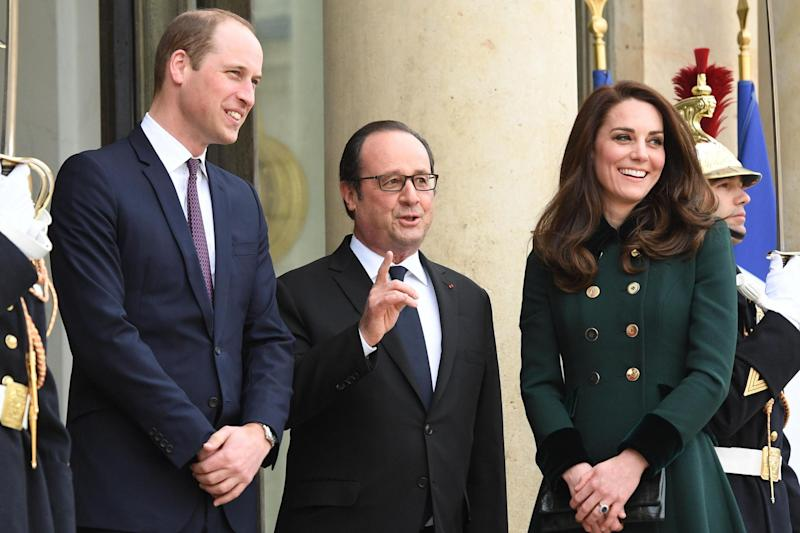 Royal welcome: William and Kate are greeted by French President Francois Hollande at the Elysee Palace: PA