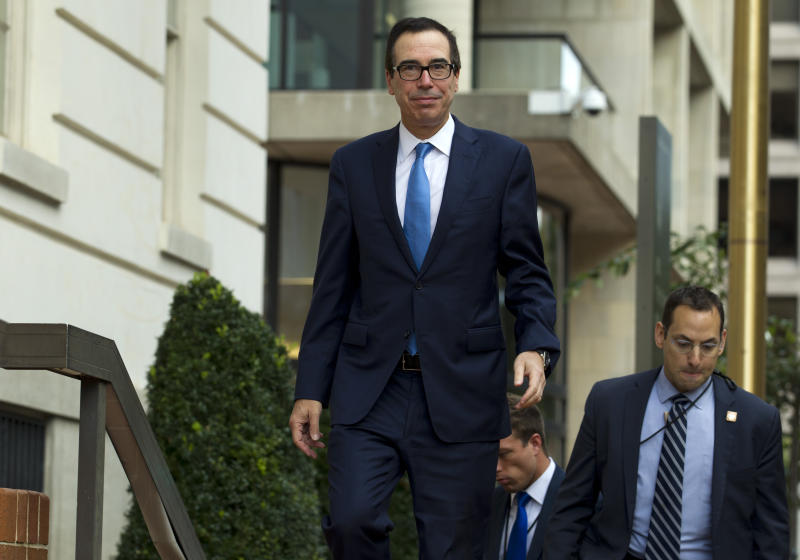 Treasury Secretary Steven Mnuchin arrives to the Office of the United States Trade Representative were he will have a minister-level trade meetings with his Chinese counterpart Chinese Vice Premier Liu He, in Washington, Thursday, Oct. 10, 2019. (AP Photo/Jose Luis Magana)