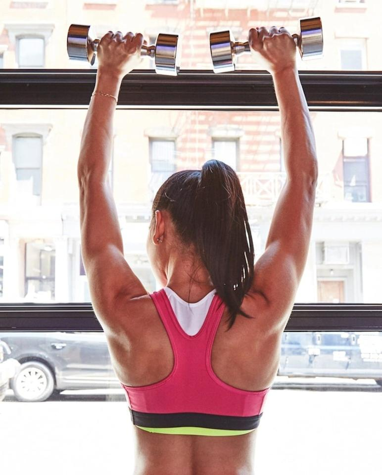 """<p><strong>Equipment needed:</strong> pair of light- to medium-weight dumbbells (three to 15 pounds)</p> <p>This <a href=""""https://www.popsugar.com/fitness/20-Minute-CrossFit-Workout-45174645"""" class=""""ga-track"""" data-ga-category=""""Related"""" data-ga-label=""""https://www.popsugar.com/fitness/20-Minute-CrossFit-Workout-45174645"""" data-ga-action=""""In-Line Links"""">20-minute CrossFit HIIT workout</a> is just four moves. If you don't have a bike or rower, you can run in place, jump rope, or do a CrossFit fave: burpees!</p>"""