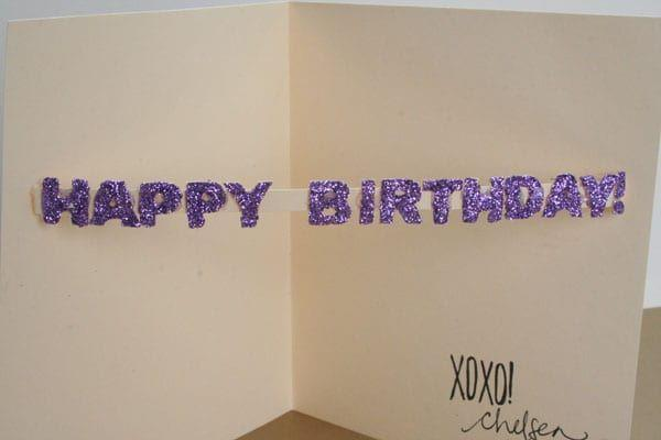 """<p>You'll be surprised how simple it is to make this fun card. And I think we can all agree that everyone loves glitter.</p><p><strong>Get the tutorial at <a href=""""https://lovelyindeed.com/diy-birthday-card/"""" rel=""""nofollow noopener"""" target=""""_blank"""" data-ylk=""""slk:Lovely Indeed"""" class=""""link rapid-noclick-resp"""">Lovely Indeed</a>.</strong> </p>"""