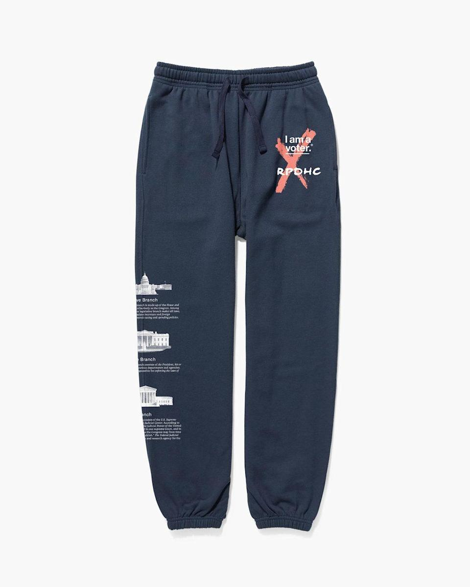 "<h2>Richer Poorer I Am A Voter Sweatpants</h2> <br>""OK, so I haven't bought these <em>yet</em> as they were just pitched to me this morning but there is currently another tab open on my laptop with a lit-up cart button filled with these Richer Poorer sweats. They're part of a small capsule collection with 50% of the proceeds going to <a href=""https://iamavoter.com/"" rel=""nofollow noopener"" target=""_blank"" data-ylk=""slk:I Am A Voter"" class=""link rapid-noclick-resp"">I Am A Voter</a> — a nonpartisan 501(c)(3) organization that 'aims to create a cultural shift around voting and civic engagement' amongst other things pro-democracy and educational. (<a href=""https://iamavoter.turbovote.org/?r=iaavwebsite"" rel=""nofollow noopener"" target=""_blank"" data-ylk=""slk:Register to vote here"" class=""link rapid-noclick-resp"">Register to vote here</a>!) They're pricy but owning a give-back pair of pants with the three branches of our government printed down the side is very appealing to me."" <em>– Marissa Rosenblum, Senior Shopping Director</em><br><br><em>Shop <strong><a href=""https://richer-poorer.com/"" rel=""nofollow noopener"" target=""_blank"" data-ylk=""slk:Richer Poorer"" class=""link rapid-noclick-resp"">Richer Poorer</a></strong></em><br><br><strong>Richer Poorer</strong> I Am A Voter Sweatpant, $, available at <a href=""https://go.skimresources.com/?id=30283X879131&url=https%3A%2F%2Fricher-poorer.com%2Fproducts%2Fwomens-i-am-a-voter-sweatpant%3Fvariant%3D32303841738848"" rel=""nofollow noopener"" target=""_blank"" data-ylk=""slk:Richer Poorer"" class=""link rapid-noclick-resp"">Richer Poorer</a><br><br><br>"