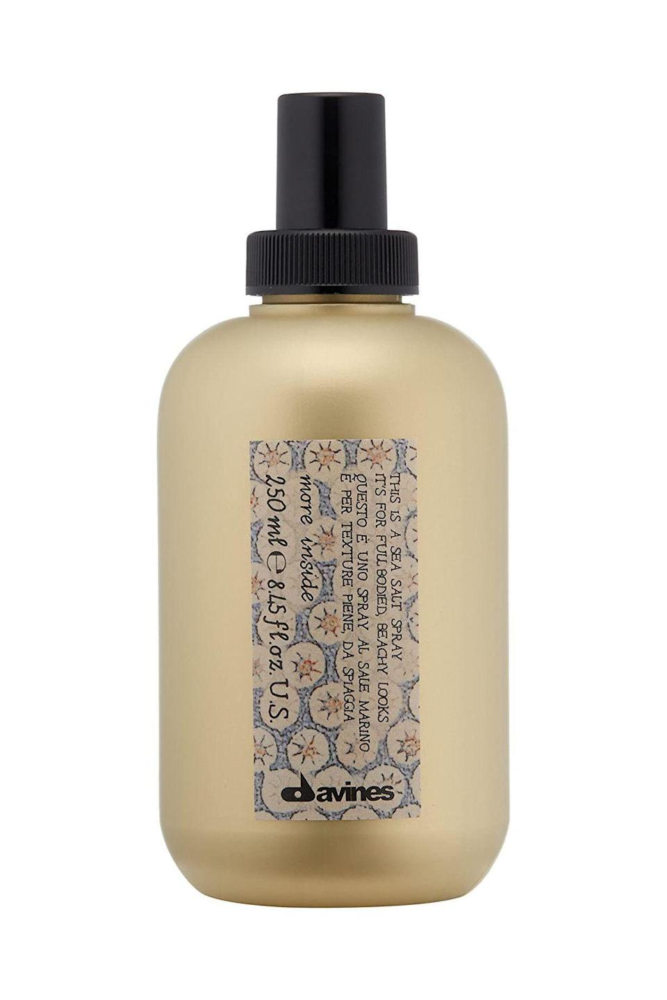 """<p><strong>Davines</strong></p><p>amazon.com</p><p><strong>$28.00</strong></p><p><a href=""""https://www.amazon.com/dp/B00GB8IA5C?tag=syn-yahoo-20&ascsubtag=%5Bartid%7C10058.g.2902%5Bsrc%7Cyahoo-us"""" rel=""""nofollow noopener"""" target=""""_blank"""" data-ylk=""""slk:SHOP IT"""" class=""""link rapid-noclick-resp"""">SHOP IT</a></p><p>Chicago-based hairstylist Ryan Babbitt relies on this salt spray to give his clients the windblown curls they crave. Points awarded for the effortless matte finish that adds hold and body.</p>"""