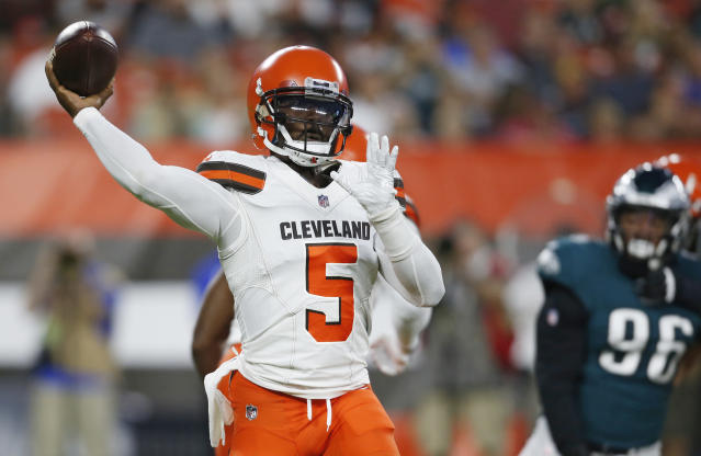 Cleveland Browns quarterback Tyrod Taylor throws during the first half of an NFL football game against the Philadelphia Eagles, Thursday, Aug. 23, 2018, in Cleveland. (AP Photo/Ron Schwane)