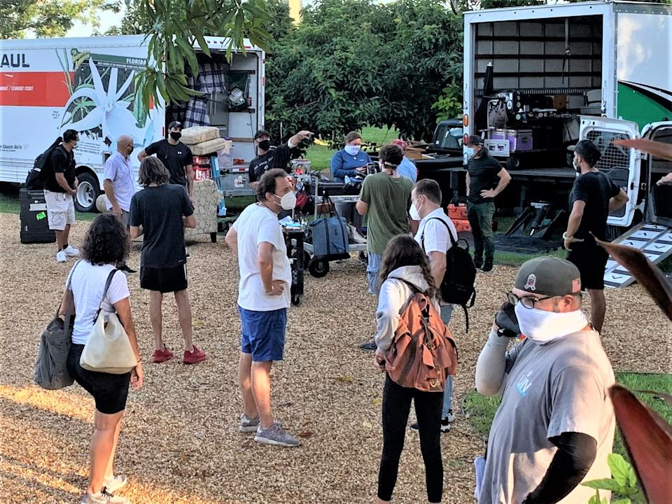 A production crew follows the new normal rules at a recent shoot in the Miami area. (Via Miami-Dade County Office of Film and Entertainment)