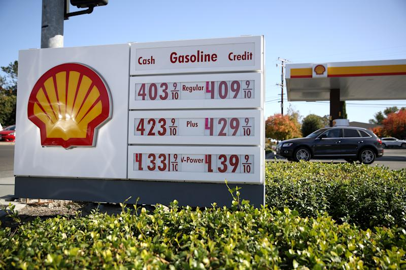 GREENBRAE, CALIFORNIA - OCTOBER 31: A sign is posted in front a Shell service station on October 31, 2019 in Greenbrae California. Royal Dutch Shell reported a 15 percent decline in third-quarter earnings with net profits of $4.767 billion compared to compared to $5.624 billion one year earlier. (Photo by Justin Sullivan/Getty Images)