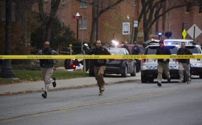 Police respond to reports of an active shooter on campus at Ohio State University on Monday, Nov. 28, 2016, in Columbus, Ohio. (Photo: Tom Dodge/The Columbus Dispatch via AP)