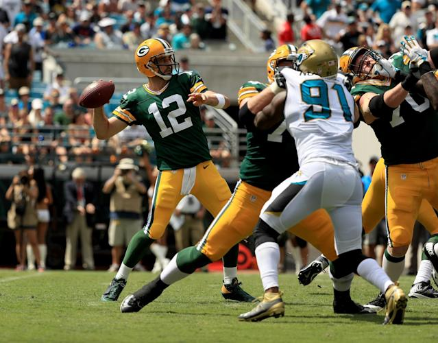 Based on the box score, it's hard to tell how Aaron Rodgers and the Packers won on Sunday in Jacksonville. (Getty)