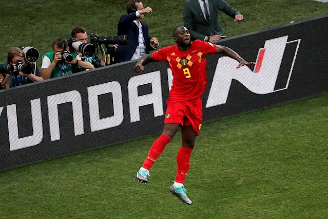 Soccer Football - World Cup - Group G - Belgium vs Panama - Fisht Stadium, Sochi, Russia - June 18, 2018 Belgium's Romelu Lukaku celebrates scoring their third goal REUTERS/Carlos Garcia Rawlins