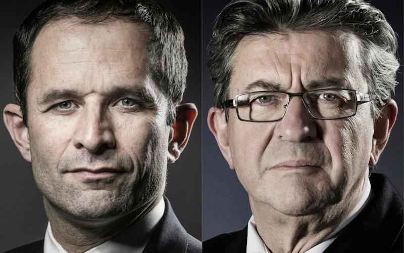 """Candidate for the Socialist Party (PS) primaries ahead of the 2017 presidential election Benoit Hamon (L) and Jean-Luc Melenchon, candidate of the far left coalition """"La France insoumise"""" - Credit: JOEL SAGET/AFP"""
