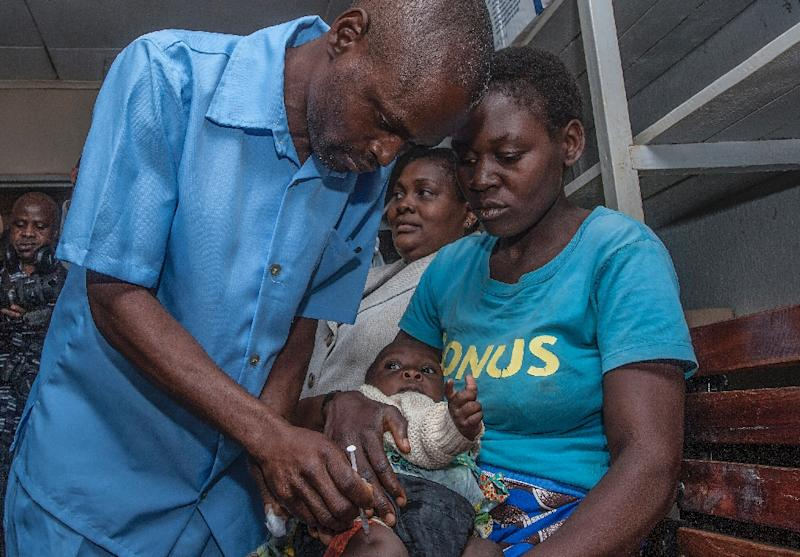 Malaria shield: The first recipient of Mosquirix at Mitundu Community Hospital (AFP Photo/AMOS GUMULIRA)