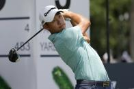 Collin Morikawa hits off the third tee during the third round of the Charles Schwab Challenge golf tournament at the Colonial Country Club in Fort Worth, Texas, Saturday May 29, 2021. (AP Photo/Ron Jenkins)