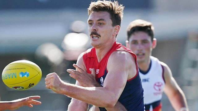 Demons coach Simon Goodwin has slammed Mark Ricciuto for comments he made about Jake Lever (pic)