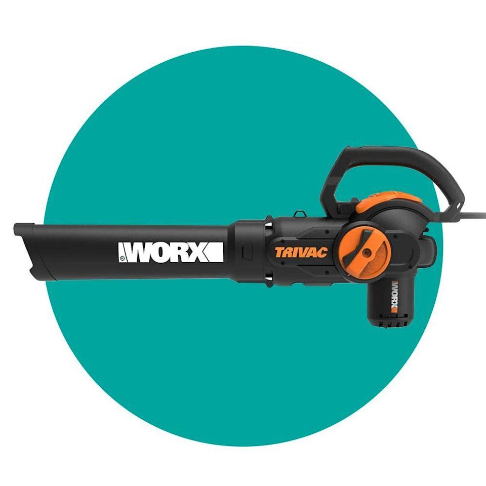 """<p><strong>Worx</strong></p><p>amazon.com</p><p><strong>$97.00</strong></p><p><a href=""""https://www.amazon.com/dp/B07PGX4SXW?tag=syn-yahoo-20&ascsubtag=%5Bartid%7C2089.g.34449251%5Bsrc%7Cyahoo-us"""" rel=""""nofollow noopener"""" target=""""_blank"""" data-ylk=""""slk:Shop Now"""" class=""""link rapid-noclick-resp"""">Shop Now</a></p><p>The Worx WG512 is the <a href=""""https://www.bestproducts.com/appliances/small/g1399/leaf-blowers-gas-electric-cordless/"""" rel=""""nofollow noopener"""" target=""""_blank"""" data-ylk=""""slk:ultimate triple threat"""" class=""""link rapid-noclick-resp"""">ultimate triple threat</a> when it comes to yard tools. It functions as a blower, mulcher, and yard vacuum with just a flip of a switch. The included collection bag has a strap that helps make it easier to carry. </p>"""