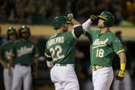 Oakland Athletics' Chad Pinder, right, celebrates with Ramon Laureano (22) after hitting a three-run home run off Texas Rangers' Mike Minor during the second inning of a baseball game Friday, Sept. 20, 2019, in Oakland, Calif. (AP Photo/Ben Margot)