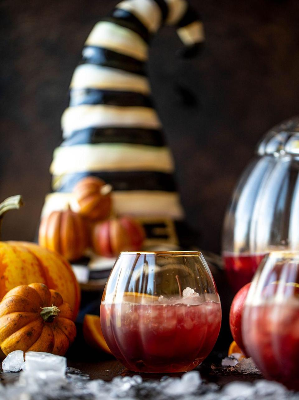 """<p>This Halloween punch is actually a mocktail, so everyone can get in on the fun! It's a sparkling drink that's full of flavor from cider, orange, and cranberry. </p><p><strong>Get the recipe at <a href=""""https://www.howsweeteats.com/2019/10/hocus-pocus-punch-p-s-its-a-mocktail/"""" rel=""""nofollow noopener"""" target=""""_blank"""" data-ylk=""""slk:How Sweet Eats"""" class=""""link rapid-noclick-resp"""">How Sweet Eats</a>. </strong></p><p><a class=""""link rapid-noclick-resp"""" href=""""https://go.redirectingat.com?id=74968X1596630&url=https%3A%2F%2Fwww.walmart.com%2Fsearch%2F%3Fquery%3Dpunch%2Bbowls&sref=https%3A%2F%2Fwww.thepioneerwoman.com%2Fholidays-celebrations%2Fg36982659%2Fhalloween-drink-recipes%2F"""" rel=""""nofollow noopener"""" target=""""_blank"""" data-ylk=""""slk:SHOP PUNCH BOWLS"""">SHOP PUNCH BOWLS</a></p>"""