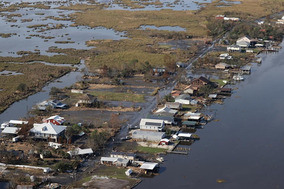 Buildings near Lafourche Parish in Louisiana are submerged by Hurricane Ida on Sept. 3.
