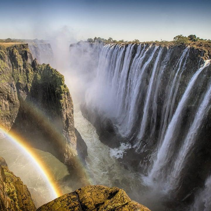 Largest waterfall in the world with rainbow