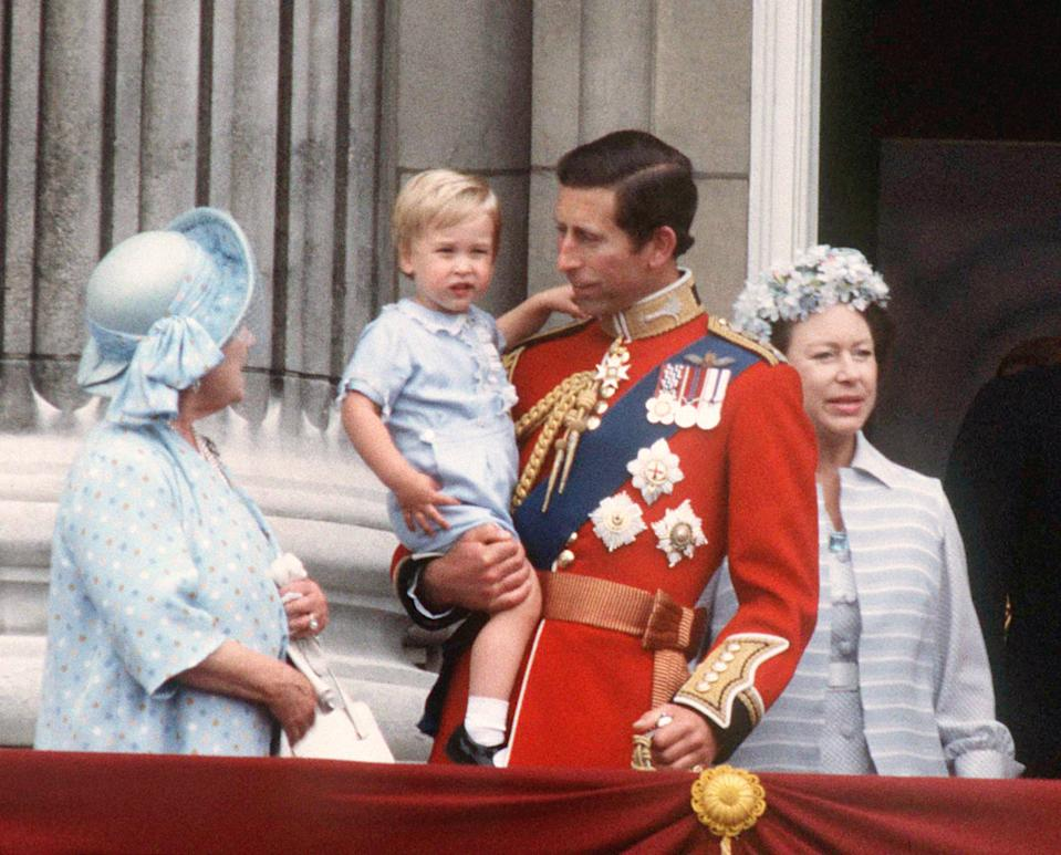 The Queen Mother, the Prince of Wales, a young Prince William and Princess Margaret at Buckingham Palace, London for Tropping the Colour in June 1984.  Photo.  Anwar Hussein