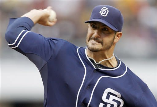 San Diego Padres starting pitcher Jason Marquis throws against the Pittsburgh Pirates in the first inning of the baseball game on Saturday, Aug. 11, 2012, in Pittsburgh. (AP Photo/Keith Srakocic)