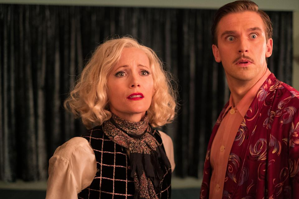 "Dan Stevens plays a struggling author with writer's block and Leslie Mann is the ghost of his dead wife in the period comedy ""Blithe Spirit."""
