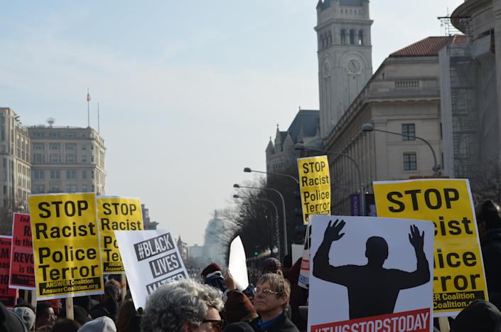 Protesters march toward the U.S. Capitol on Dec. 13, 2014.