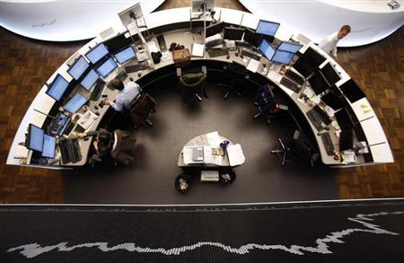 The German share price index DAX board is pictured at the German stock exchange in Frankfurt