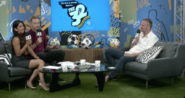 Didi Hamann joined Reshmin Chowdury and Toby Tarrant on The 32 on Tuesday. (Yahoo)