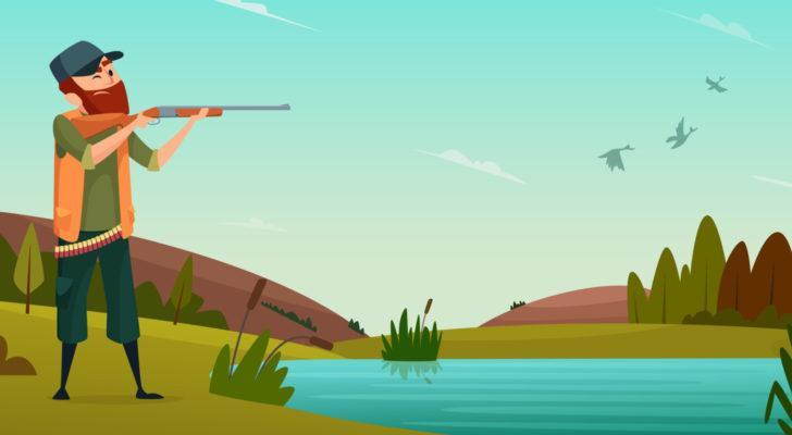 cartoon of a hunter next to a lake with a shotgun aiming at ducks in the sky