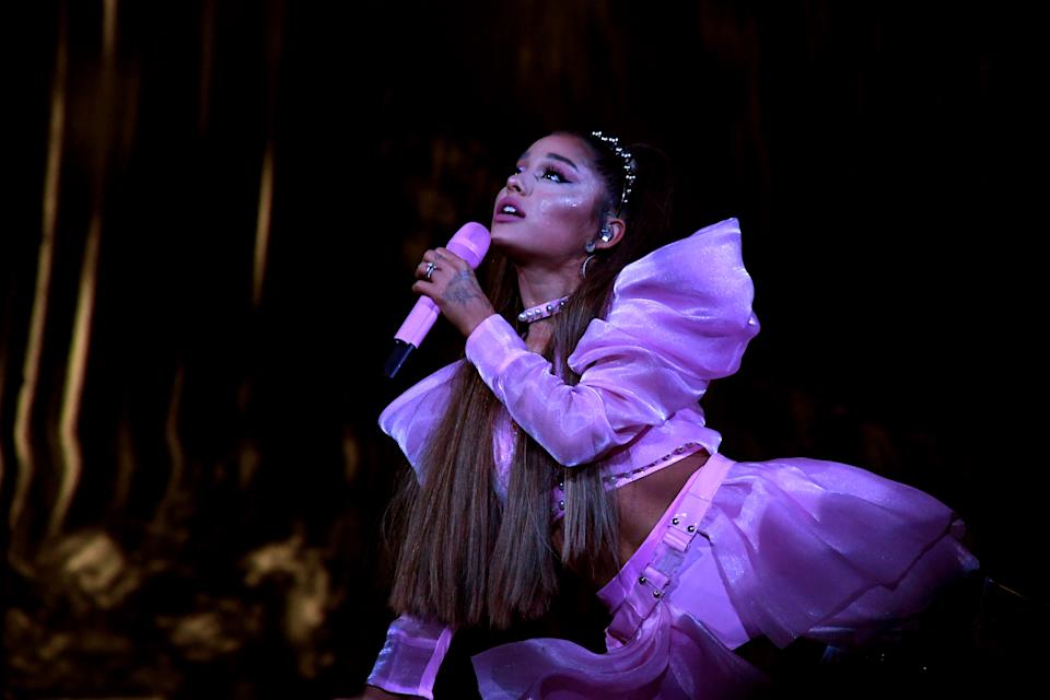 LOS ANGELES, CALIFORNIA - MAY 07: Ariana Grande performs onstage during Ariana Grande Sweetener World Tour at Staples Center on May 07, 2019 in Los Angeles, California. (Photo by Kevin Mazur/Getty Images for AG)