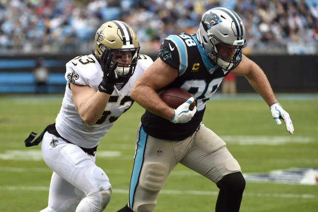 New Orleans Saints outside linebacker A.J. Klein (53) chases Carolina Panthers tight end Greg Olsen (88) during the first half of an NFL football game in Charlotte, N.C., Sunday, Dec. 29, 2019. (AP Photo/Mike McCarn)