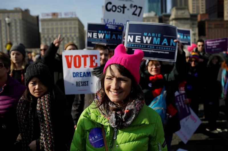 Candidate for Congress Marie Newman attends the Women's March in Chicago on Jan. 20, 2018. (Joshua Lott / Reuters)